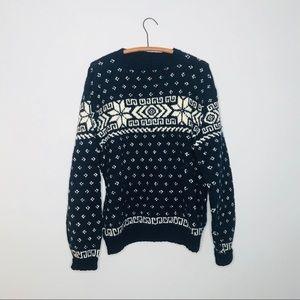 Vintage Retro Knit Wool Navy Blue Nordic Sweater